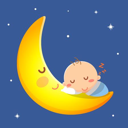 Baby sleep on the moon. Illustration