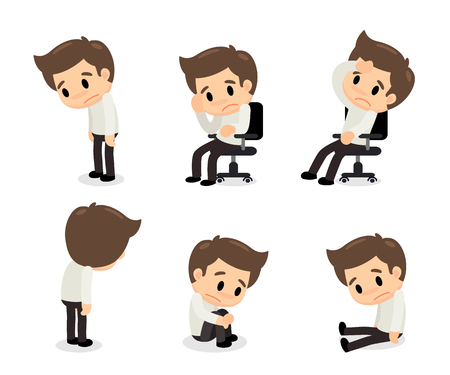 Depressive disorder man in various actions. Illustration