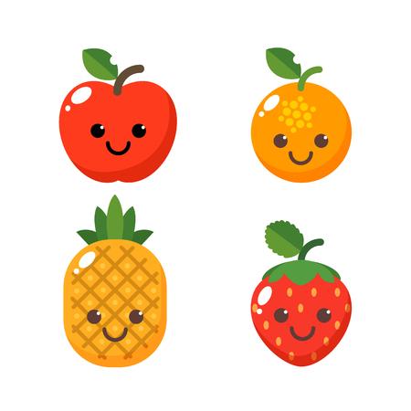 ensemble de caractères mignons de fruits