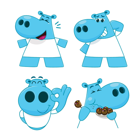 Set of Hippopotamus characters in cartoon style. Hippopotamus in various actions. Isolated flat vector. Illustration