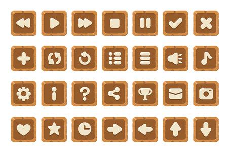 Set di pulsanti per giochi, applicazioni e siti web. Disegnano i pulsanti carino dei fumetti.