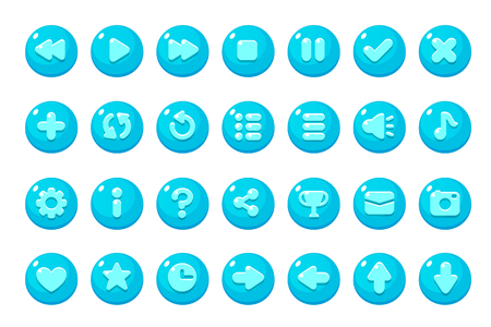 Set of buttons for games, applications and websites. Cute cartoon buttons design.