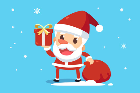 wave hello: Merry Christmas. Santa Claus in red costume is giving a present box.