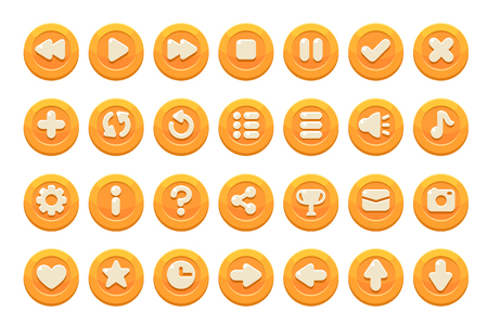 Set of buttons for games, applications and websites. Cute cartoon buttons design. Orange theme.