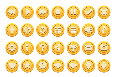 Set of buttons for games, applications and websites. Cute cartoon buttons design. Yellow theme.