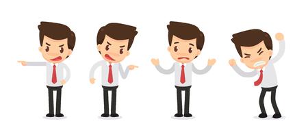 Set of Businessman character in actions. Displeased. Ilustração