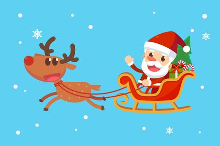 メリー クリスマス サンタと友人たち。トナカイとそりでサンタ クロース。