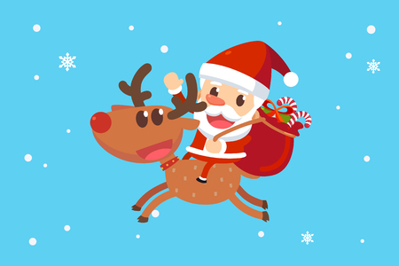 メリー クリスマス サンタと友人たち。サンタ クロースがトナカイに座っています。