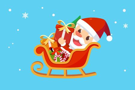 メリー クリスマス サンタと友人たち。そりでサンタ クロース。