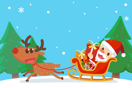 Merry Christmas with Santa and friends. Santa Claus on the sleigh with reindeer.