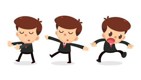 Set of Businessman character in actions. Daydream. Ilustração