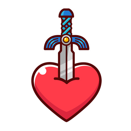 Cartoon sword drawing stick at a heart. Illusztráció