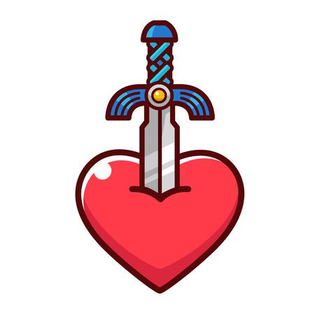 Cartoon sword drawing stick at a heart. Illustration