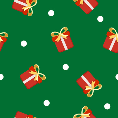 Christmas objects pattern. Christmas  presents. Red gift boxes.
