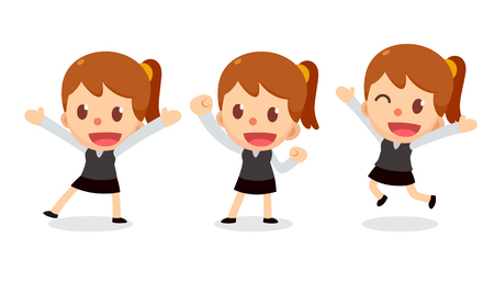 Set of tiny business young woman character in actions. Illustration