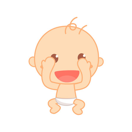 Baby playing peek a boo. Cute baby milestone.