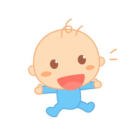 First laugh, cute baby milestone. Illustration