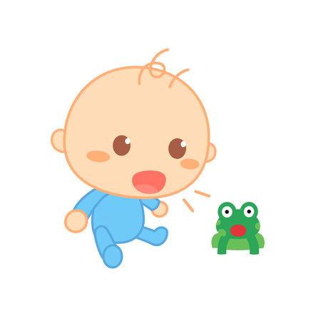 Baby imiteert geluiden. Schattige baby mijlpaal.