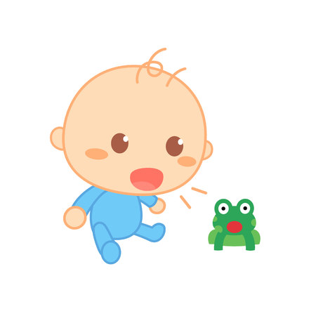 Baby imitate sounds. Cute baby milestone. Illustration