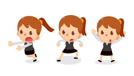 Set of tiny business woman character in actions. Be careful. Ilustração