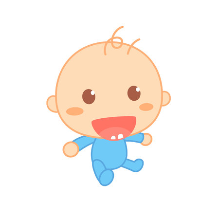 First tooth. Cute baby milestone. 向量圖像