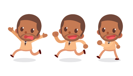 Set of tiny businessman character in actions. Run away. Vector illustration.