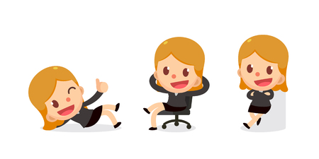 Set of tiny business woman character in actions.