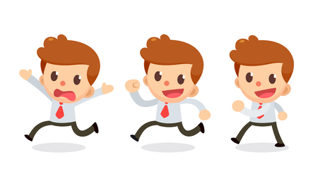 Set of Tiny businessman character in actions. Run away.