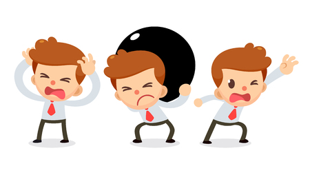 Set of Tiny businessman character in actions. Need some help.