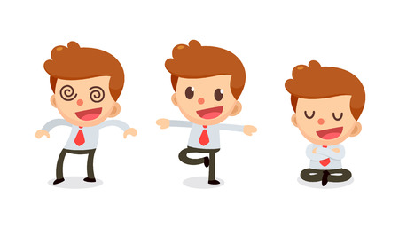 Set of Tiny businessman character in actions. Numbness man. Illustration