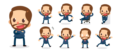 Set of tiny businessmen character in actions. Illustration