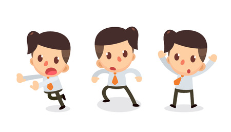 Set of Tiny businessman character in actions. Afraid. Stock Illustratie