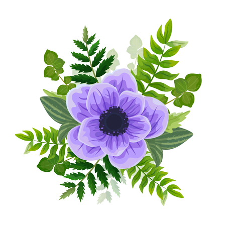Wedding invitation card. Lovely template. Card design with violet anemone flower, forest greenery ferns, plants, green leaves.