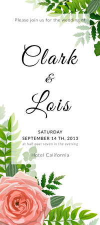 Wedding invitation card. Lovely template. Card design with rose flower, forest greenery ferns, plants, green leaves.