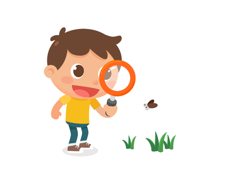 A kid with a magnifying glass. Flat character design.