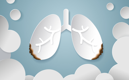 Burning lung look like they got cancer surrounded by smoke. Vector designed in paper art style.