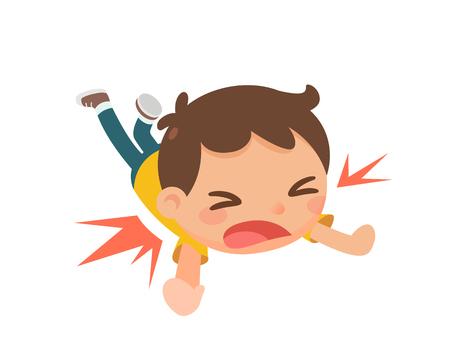 Un bambino che cade a terra.
