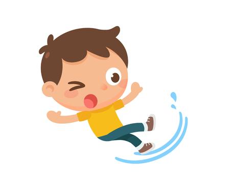 Un enfant qui glisse. Marchez sur l'eau.