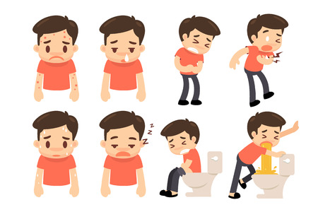 Man in sickness actions cartoon character style.