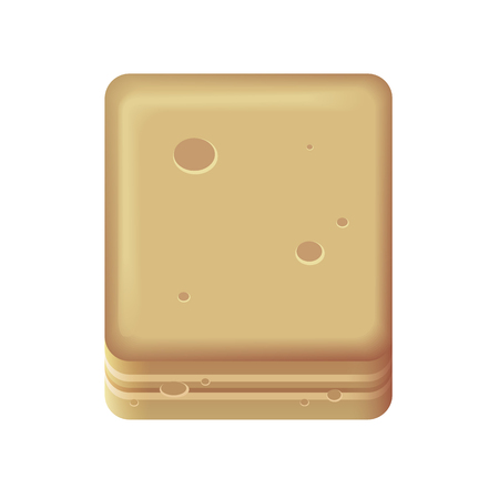 Block of ground or sand also looks like a cheese and peanut cookie in brown color. Illustration
