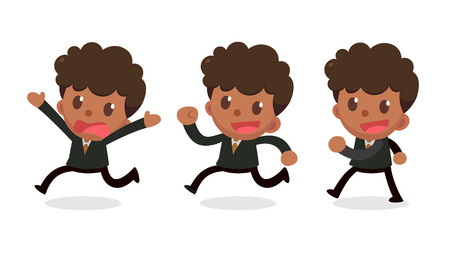 Set of tiny businessman character in actions. Walk and run.