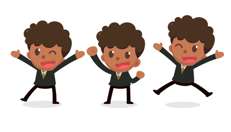 Set of tiny businessman character in actions. Glad and happy.