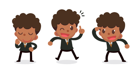 Set of tiny businessman character in actions. Get an idea.