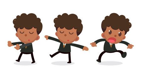Set of tiny businessman character in actions. Daydream.