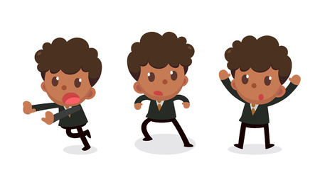 Set of tiny businessman character in actions. Surrender. Illustration
