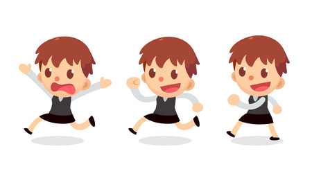 Set of tiny businesswoman character in actions. Walk and run. Illustration