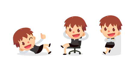 Set of tiny businesswoman character in actions. Relax time.