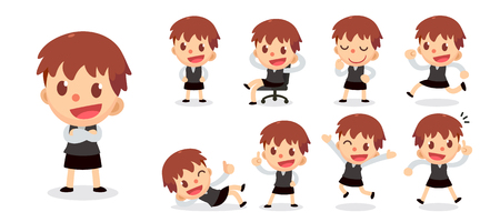 Set of tiny businesswoman character in actions. White woman with short brown hair.