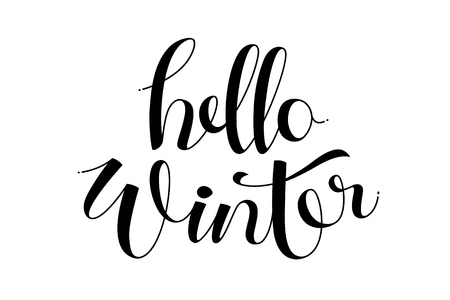 Hello winter hand lettering calligraphy.