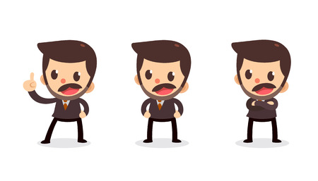 Set of tiny businessman character in actions. Speak and talk. Illustration